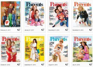 8 covers van het Amerikaanse tijdschrift Parents, elk met een vrouw op de voorkant.