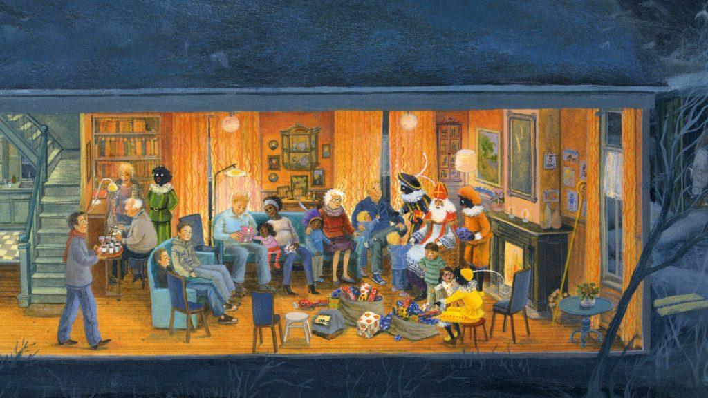 Spread of pagina van Sinterklaas door illustrator Charlotte Dematons